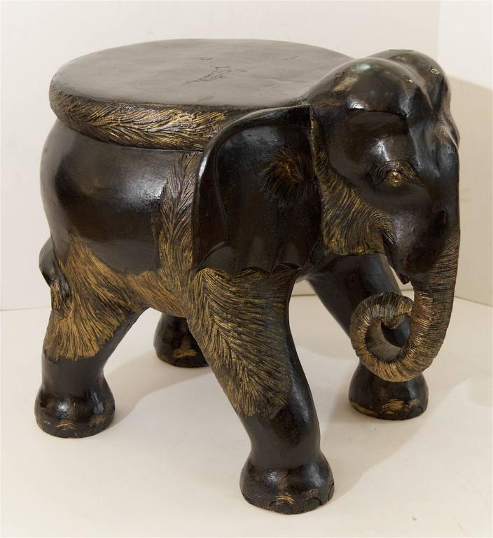 Carved Wood Elephant Stool Table At 1stdibs