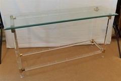 Brass and Lucite Console Table by Charles Hollis Jones