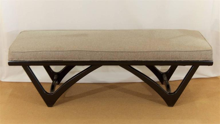 Long Upholstered Bench with Black Lacquer Base 3