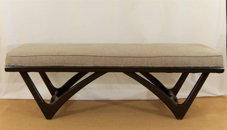 Long Upholstered Bench with Black Lacquer Base 4