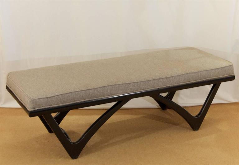 Long Upholstered Bench with Black Lacquer Base 2