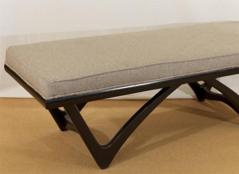 Long Upholstered Bench with Black Lacquer Base 5