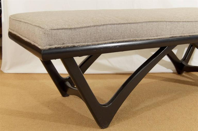 Long Upholstered Bench with Black Lacquer Base 6