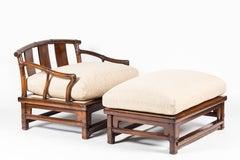 Henredon Asian Inspired Armchair and Ottoman