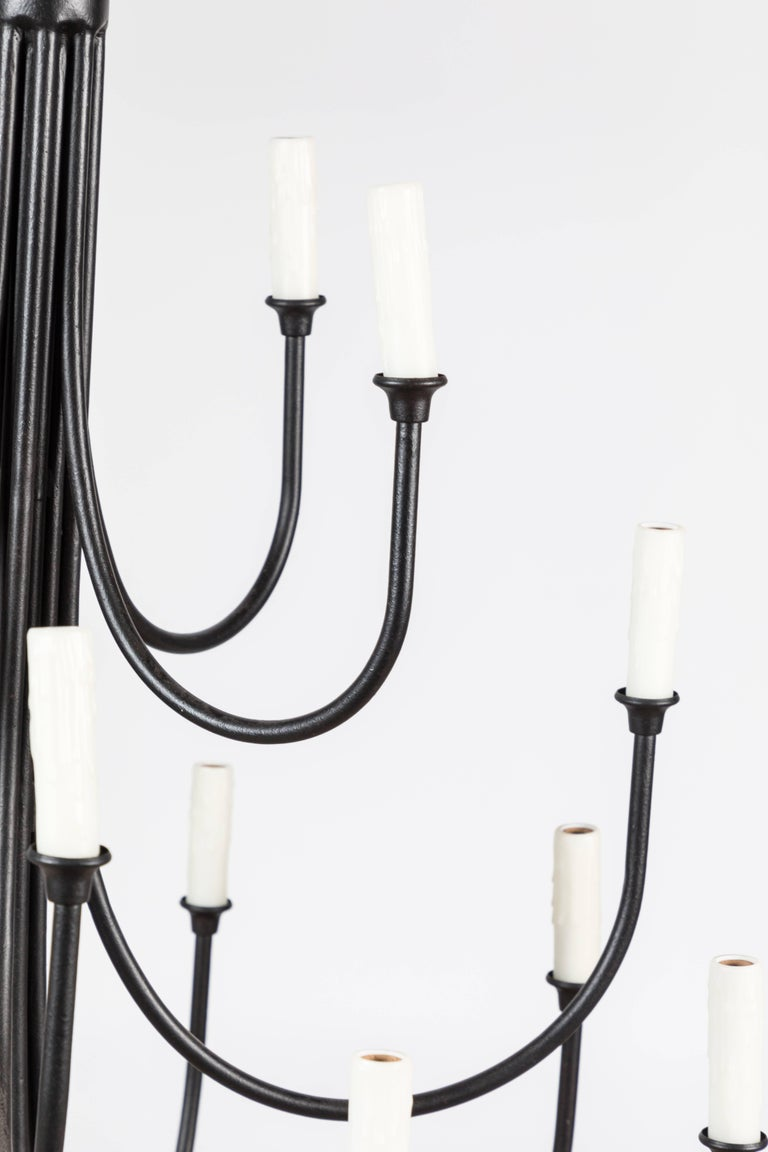 Contemporary Custom Wrought Iron Chandelier with 16 Lights For Sale