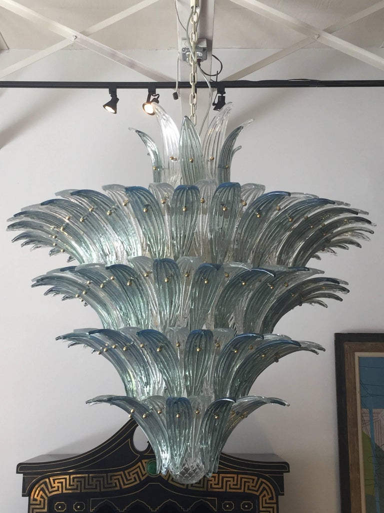 Oversized Italian Murano Palm Style Chandelier For Sale 1