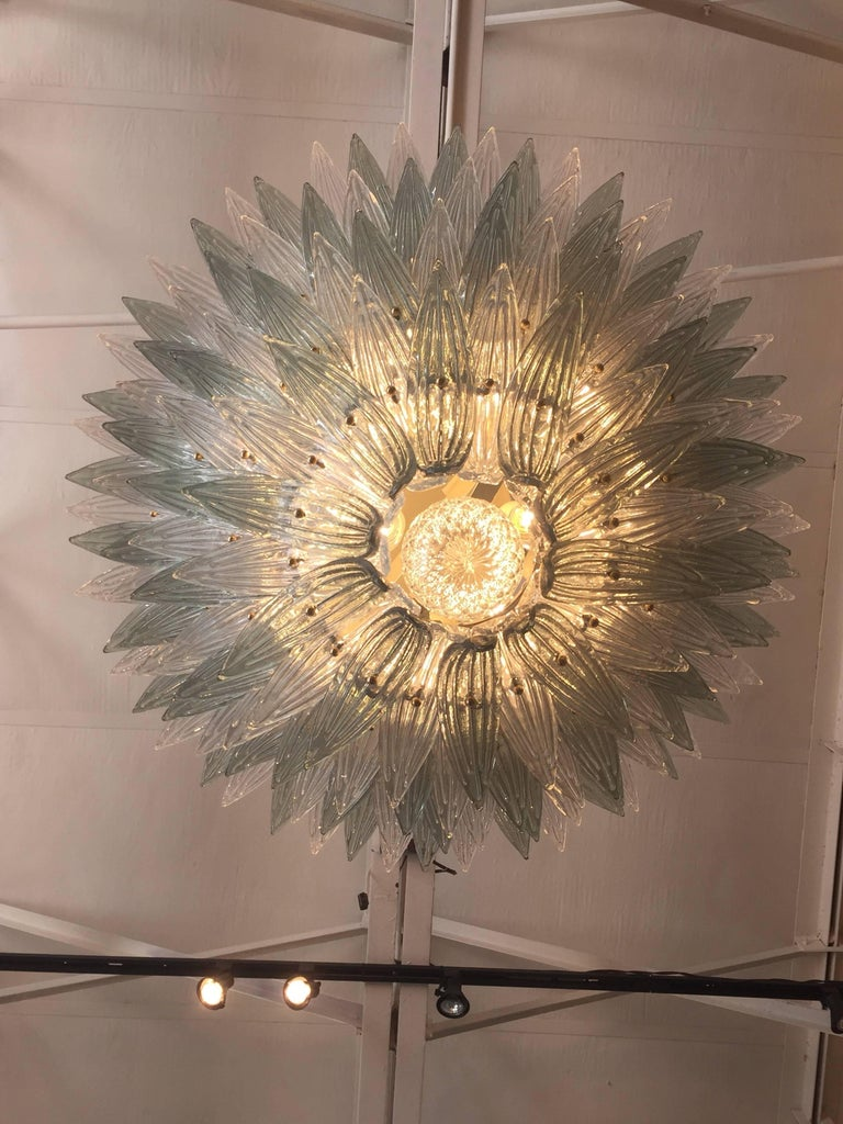 Contemporary Oversized Italian Murano Palm Style Chandelier For Sale