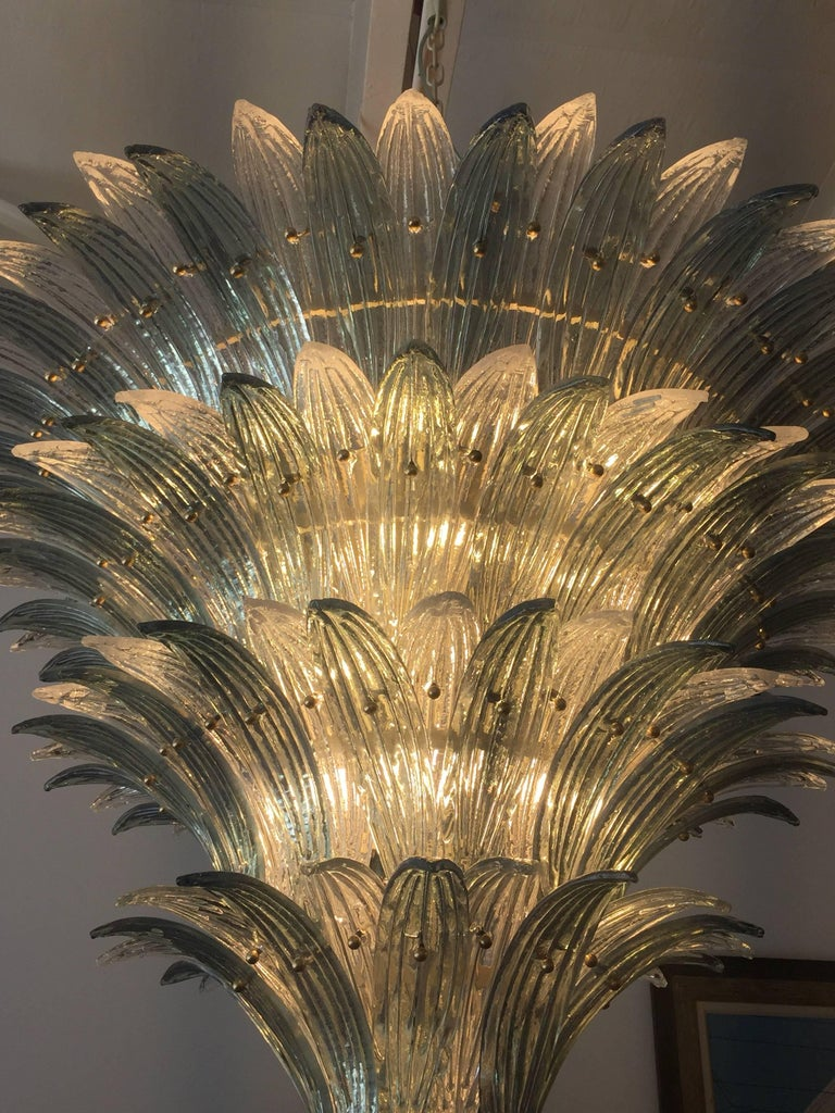 Oversized Italian Murano Palm Style Chandelier In Excellent Condition For Sale In East Hampton, NY