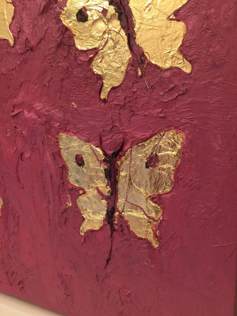 This beautifully shadow box framed oil on board painting of seven gold leaf butterflies on vivid background is a series of two (2).  Thick textured oil on board - signed and titled on verso. Artist biography available upon request.