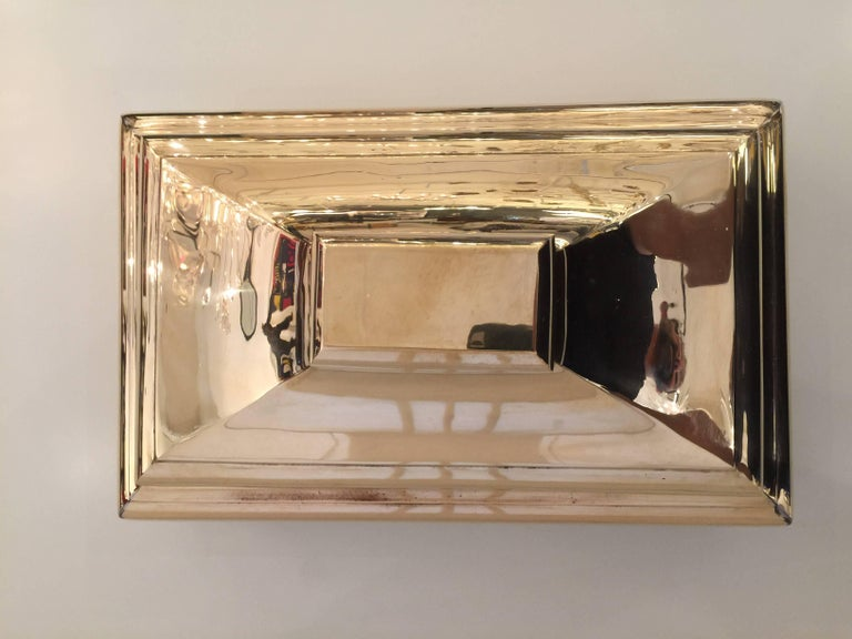 American Oversized Heavy Polished Brass Box For Sale