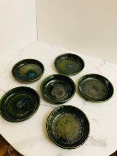 Rare Glazed Ceramic French Bowls Marked AP, Set of Six