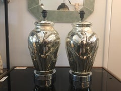 Vintage Pair of Oversized Mercury Glass Lamps with Sheaf of Wheat Relief