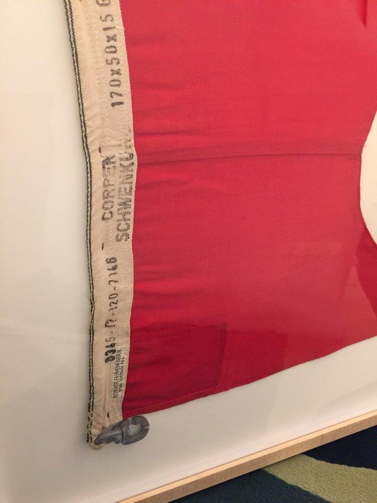 German Professionally Framed WW II Nautical Signal Flag For Sale
