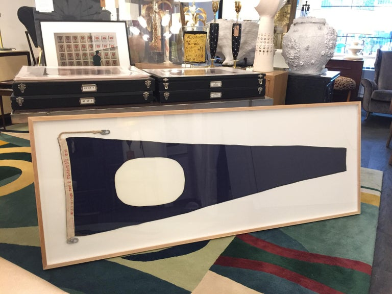 Professionally Framed WW II Nautical Signal Flag In Excellent Condition For Sale In East Hampton, NY