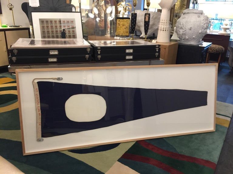 Mid-20th Century Professionally Framed WW II Nautical Signal Flag For Sale