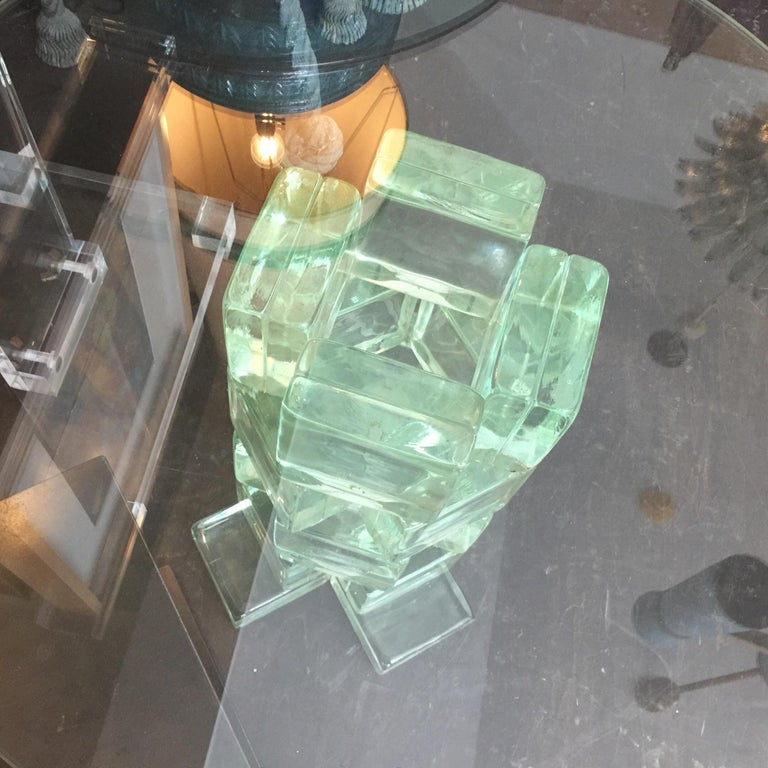 Unusual modern sculptural base made out of pale green glass block side table by Imperial Imagineering.