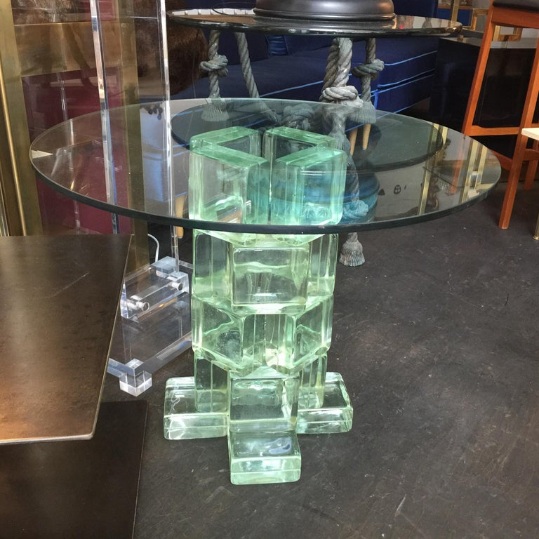 Imperial Imagineering Tall Glass Block Side Table In Good Condition For Sale In East Hampton, NY