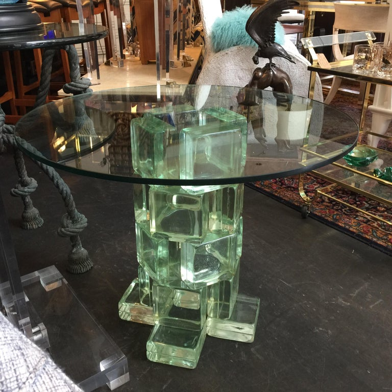 20th Century Imperial Imagineering Tall Glass Block Side Table For Sale