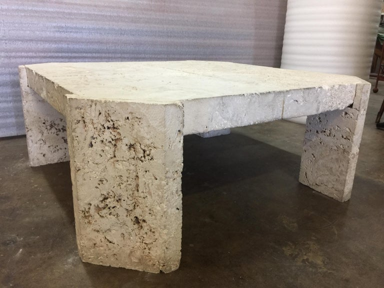 American Superb Samuel Marx Style Natural Coquina Coral Stone Coffee Table For Sale
