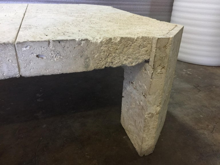 Mid-20th Century Superb Samuel Marx Style Natural Coquina Coral Stone Coffee Table For Sale