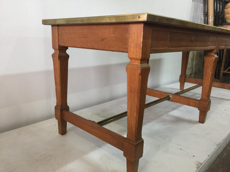 French Leather Top and Brass Oak Library Table For Sale