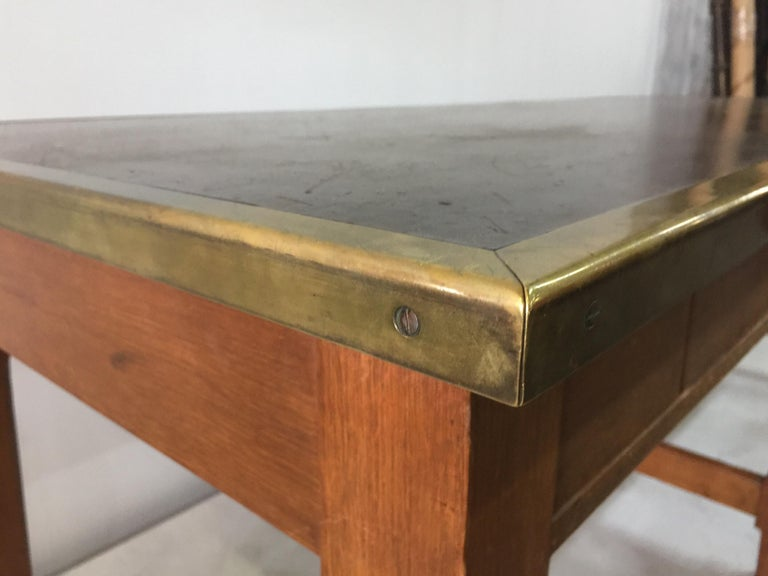 Leather Top and Brass Oak Library Table In Good Condition For Sale In East Hampton, NY