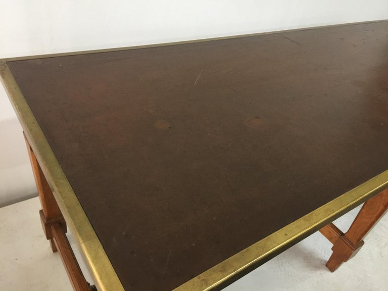 Mid-20th Century Leather Top and Brass Oak Library Table For Sale