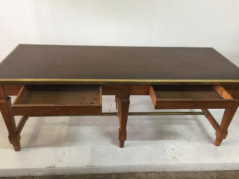 Leather Top and Brass Oak Library Table For Sale 4