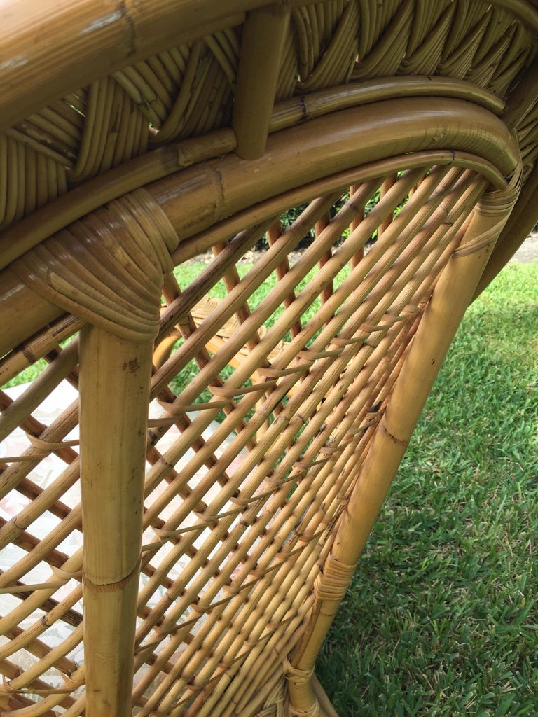Oversized Bamboo and Rattan Armchairs and Ottomans, Pair ...