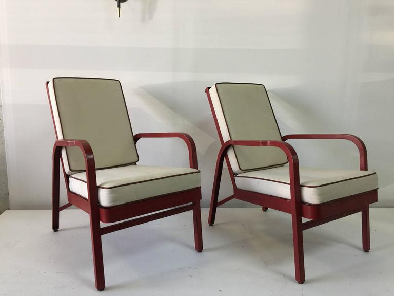 French Lounge Chairs, Pair by Jules Leleu and Jean Prouvé For Sale