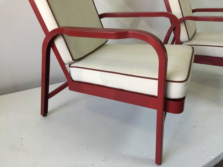 Painted Lounge Chairs, Pair by Jules Leleu and Jean Prouvé For Sale