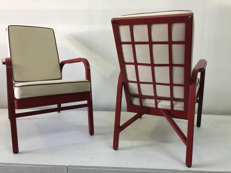 Lounge Chairs, Pair by Jules Leleu and Jean Prouvé In Good Condition For Sale In East Hampton, NY
