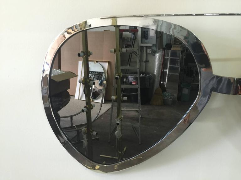 Huge Pair of Aviator Glasses Wall Mirror in Chromed Frame In Excellent Condition For Sale In East Hampton, NY