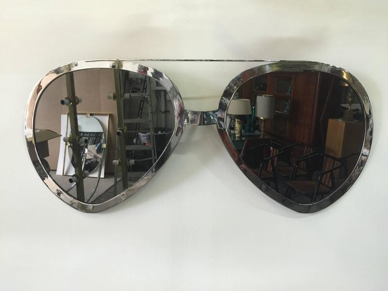 20th Century Huge Pair of Aviator Glasses Wall Mirror in Chromed Frame For Sale