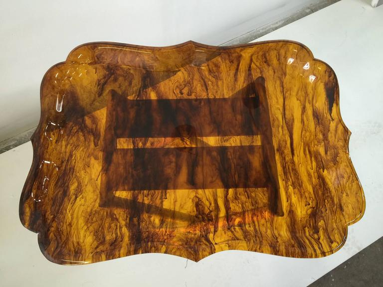 Italian Exceptionally Large Tortoise Acrylic Tray on Fortuny Silk Covered Stand _SALE_ For Sale
