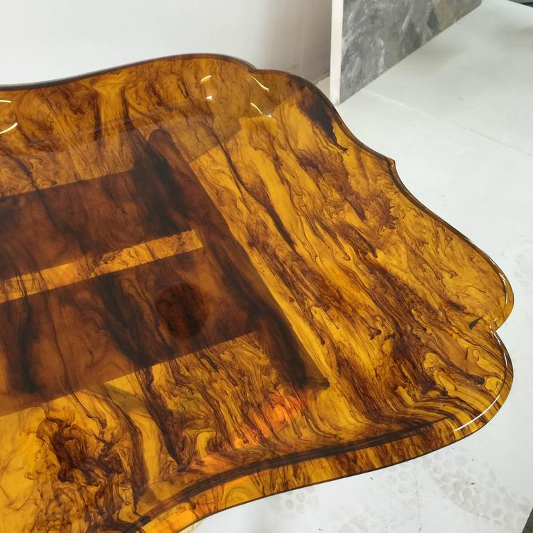 Mid-20th Century Exceptionally Large Tortoise Acrylic Tray on Fortuny Silk Covered Stand _SALE_ For Sale