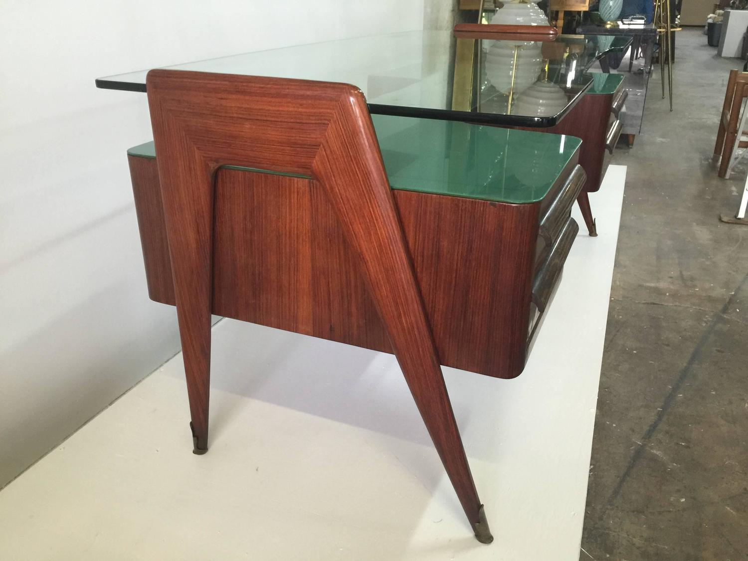 Rosewood desk by paolo buffa with floating glass top for for Floating desk for sale