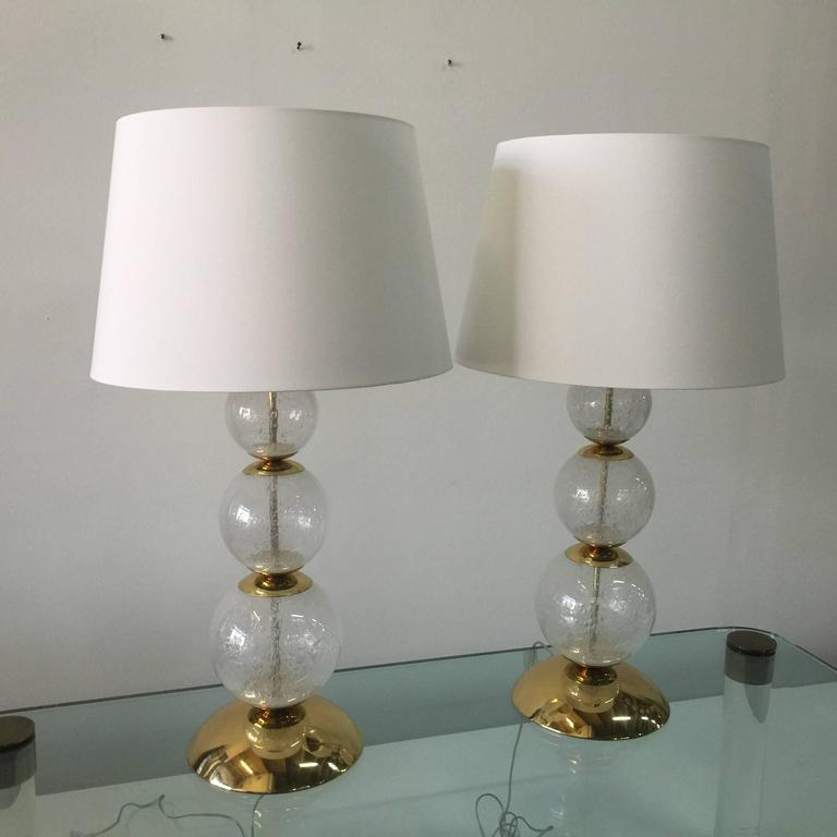 Glimmering Pair of Clear Bubbling Murano Glass Lamps  In Good Condition For Sale In East Hampton, NY