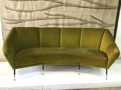 Vintage Green Velvet Geometrical-Shaped Italian Sofa