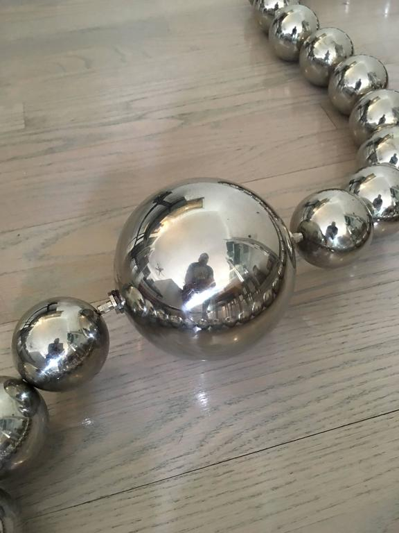 American Oversized Stainless Steel Orb Necklace For Sale