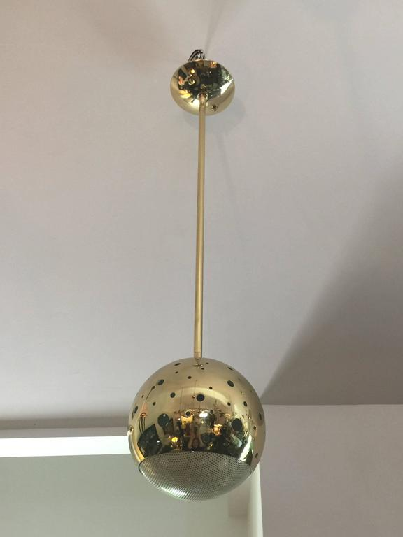 Mid-Century Modern Vintage Perforated Brass Globe Pendant For Sale