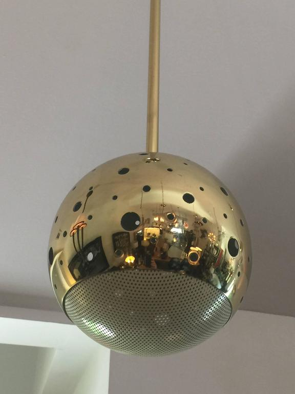 American Vintage Perforated Brass Globe Pendant For Sale