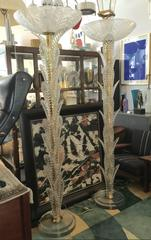 Pair of Murano Glass Palm Torchieres