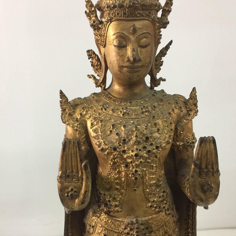 Laotian Antique Gilt Bronze Buddha Sculptures from Laos/Thailand For Sale