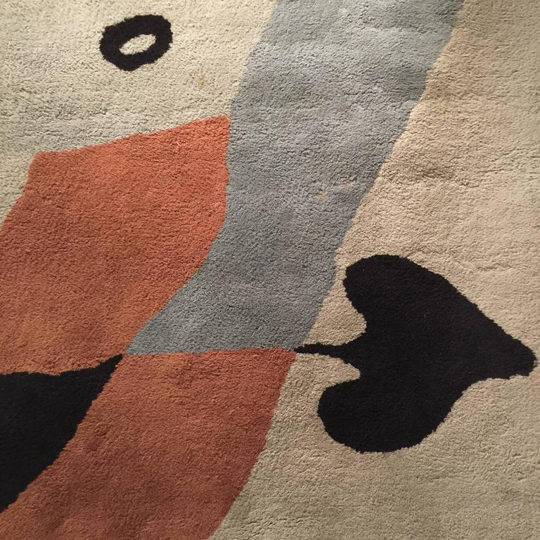 Mid-Century Modern Rug/Wall Art by Jean Arp Edition Marie Cuttoli/Lucie Weill For Sale