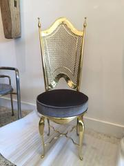 Pair of Great Polished Brass Italian Sidechairs