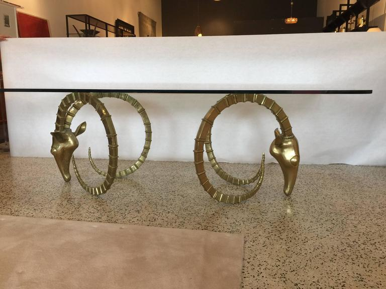 French Sculptural Ibex Heads Table Attributed to Alain Chervet For Sale