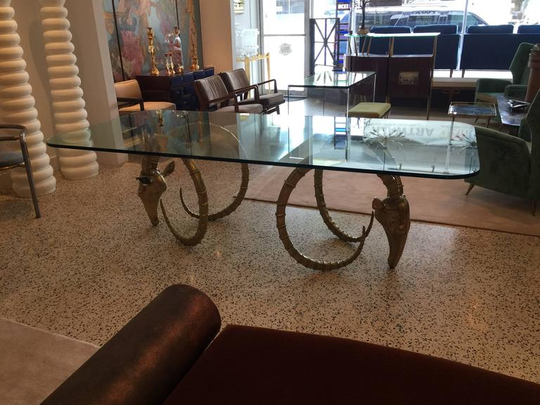Late 20th Century Sculptural Ibex Heads Table Attributed to Alain Chervet For Sale