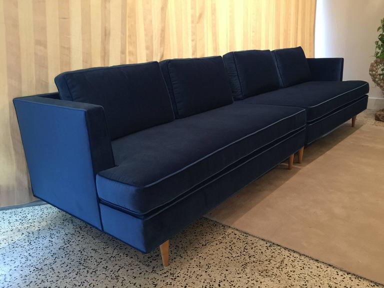 This exquisite two-piece sectional set in newly upholstered Italian mohair velvet. Original legs were left in original color and wear. Detached pillows make this very luxurious and comfortable.