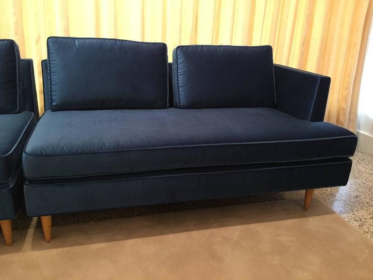 American Edward Wormley Sectional Sofa for Dunbar in Blue Velvet For Sale